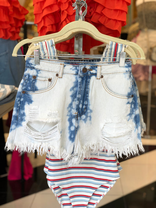 Bleached Destroyed High Rise Denim Shorts - Kendry Collection Boutique