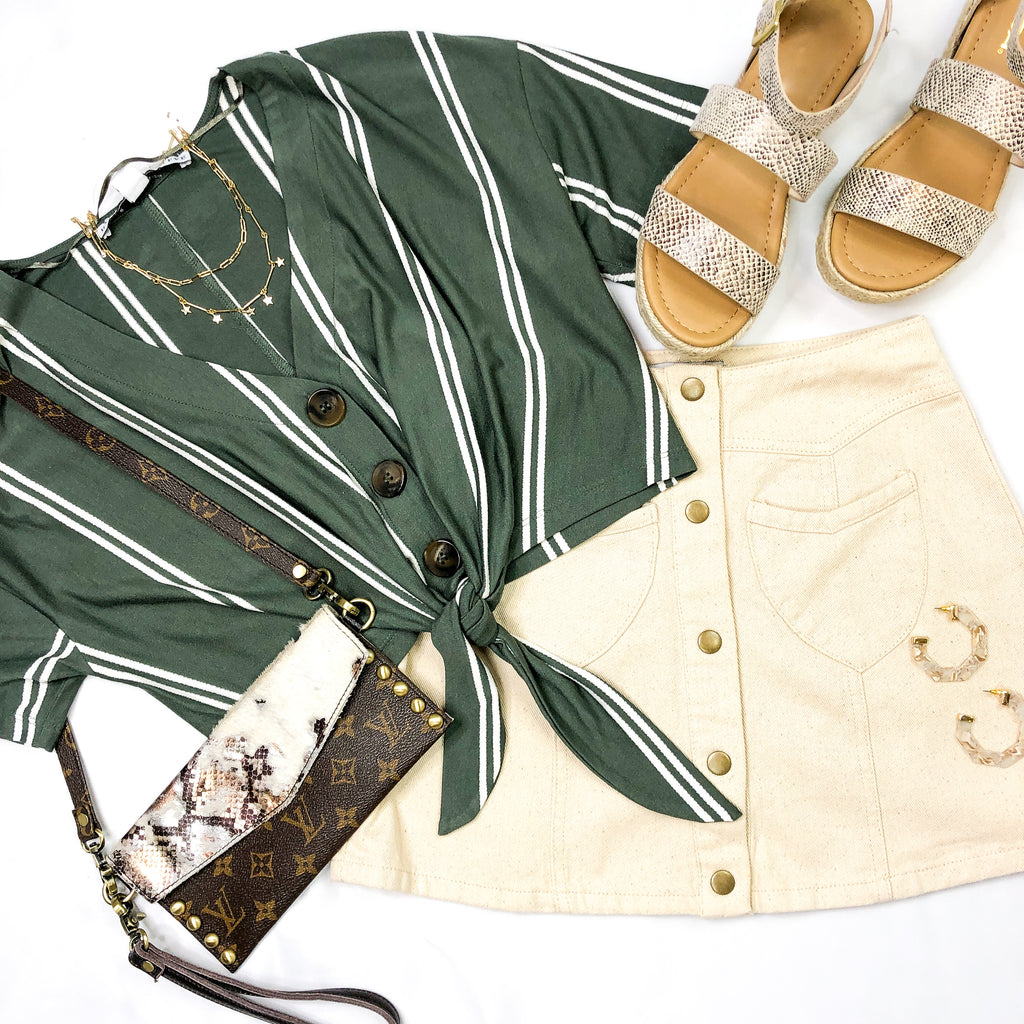 Striped Olive Front Tie Crop Top