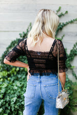 Black Sheer Star Patterned Puff Sleeve Smocked Top - Kendry Boutique