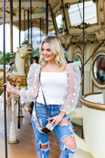 White Polka Dot Mesh Long Sleeve Top - Kendry Collection Boutique
