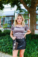 Mocha Velvet Ruffle Smocked Top - Shop Kendry Collection Boutique