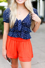 High Waisted Red Smocked Shorts - Kendry Collection Boutique