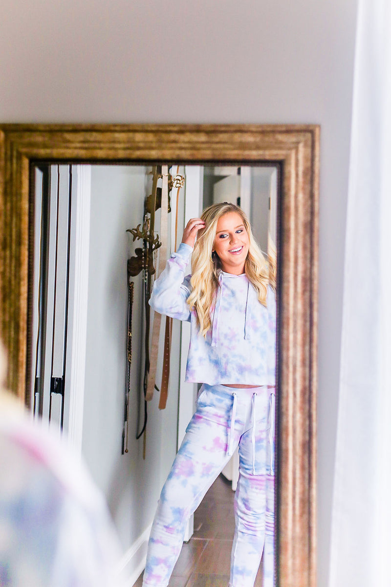 Blue And Pink Tie Dye Cropped Hoodie - Tie Dye Lounge Wear Jogger Set- Kendry Collection Boutique