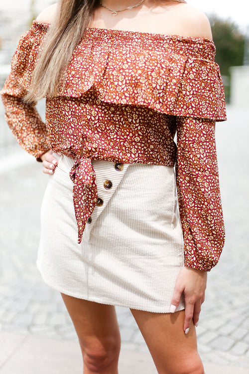 Beige Corduroy Button Mini Skirt - Shop Kendry Collection Boutique