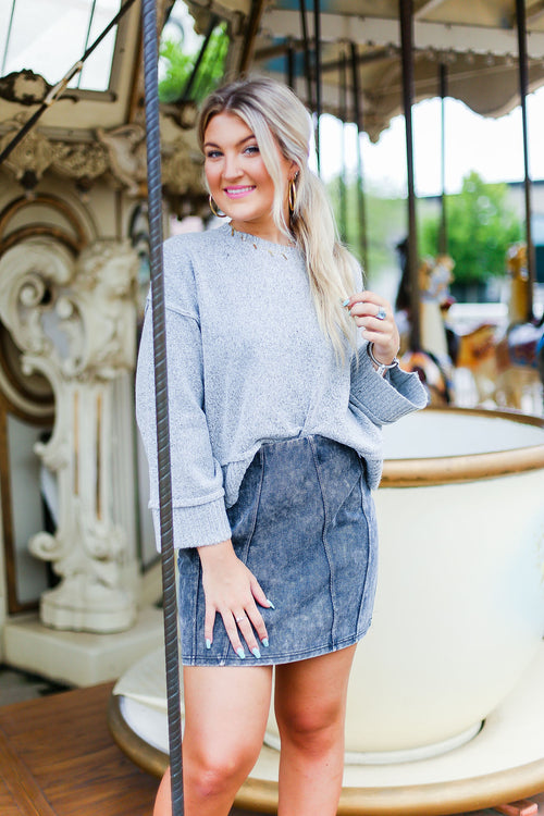 Heather Grey Wide Sleeve Sweater - Shop Kendry Collection Boutique