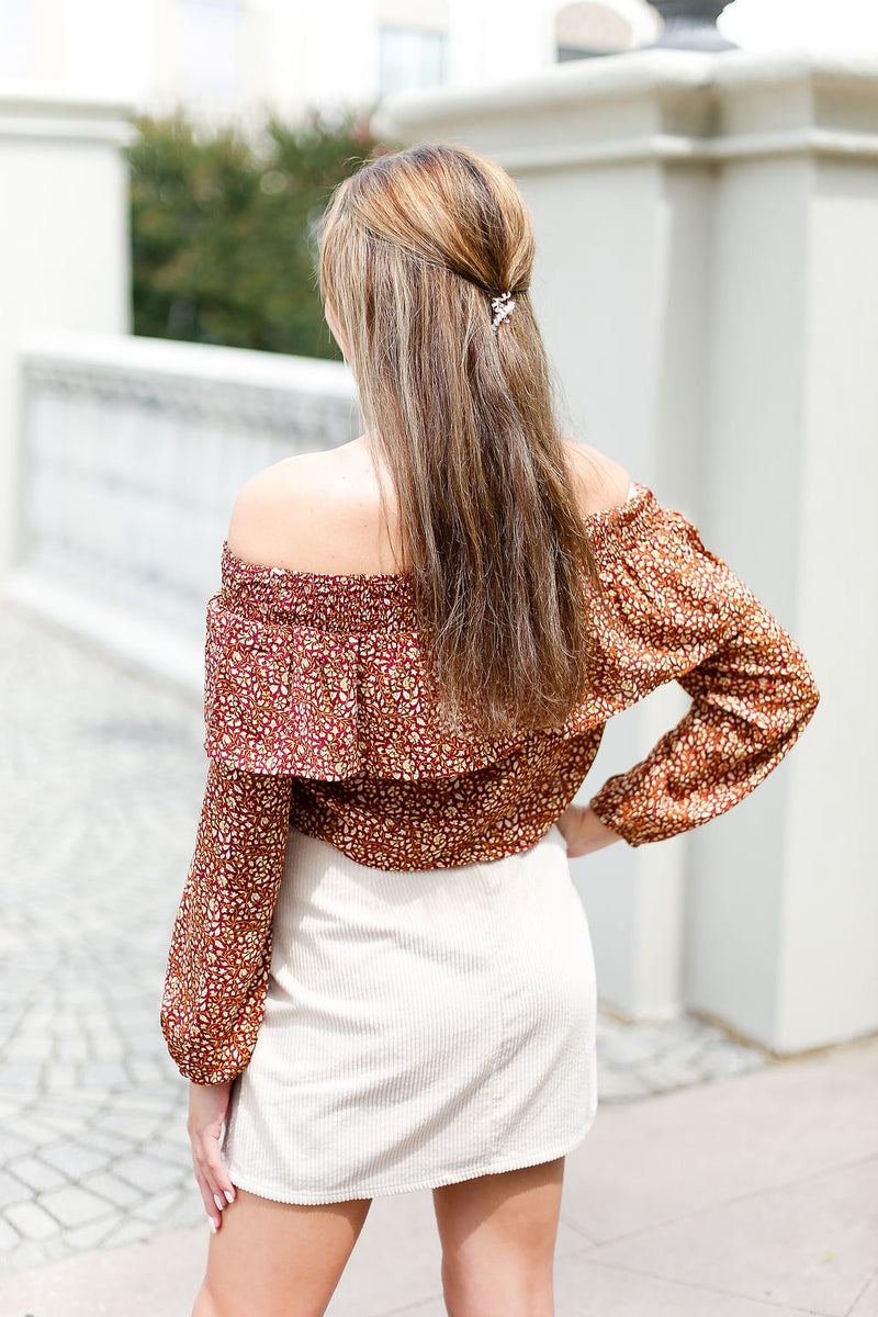 Off The Shoulder Rust Crop Top - Shop Kendry Collection Boutique