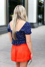 Navy Blue Ruffle Front Tie Crop Top - Shop kendry collection boutique