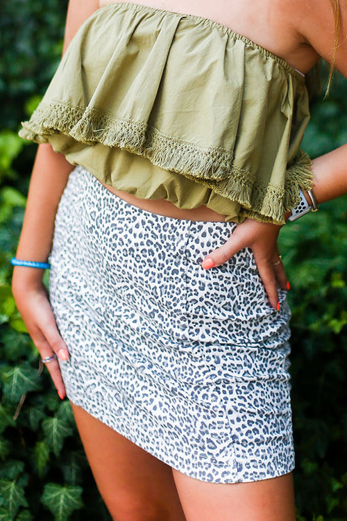 Denim Leopard Mini Skirt - Shop Kendry Collection Boutique Online
