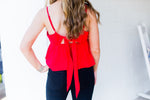 Red Baby Doll Tank Top With Bow Tie - Kendry Collection Boutique