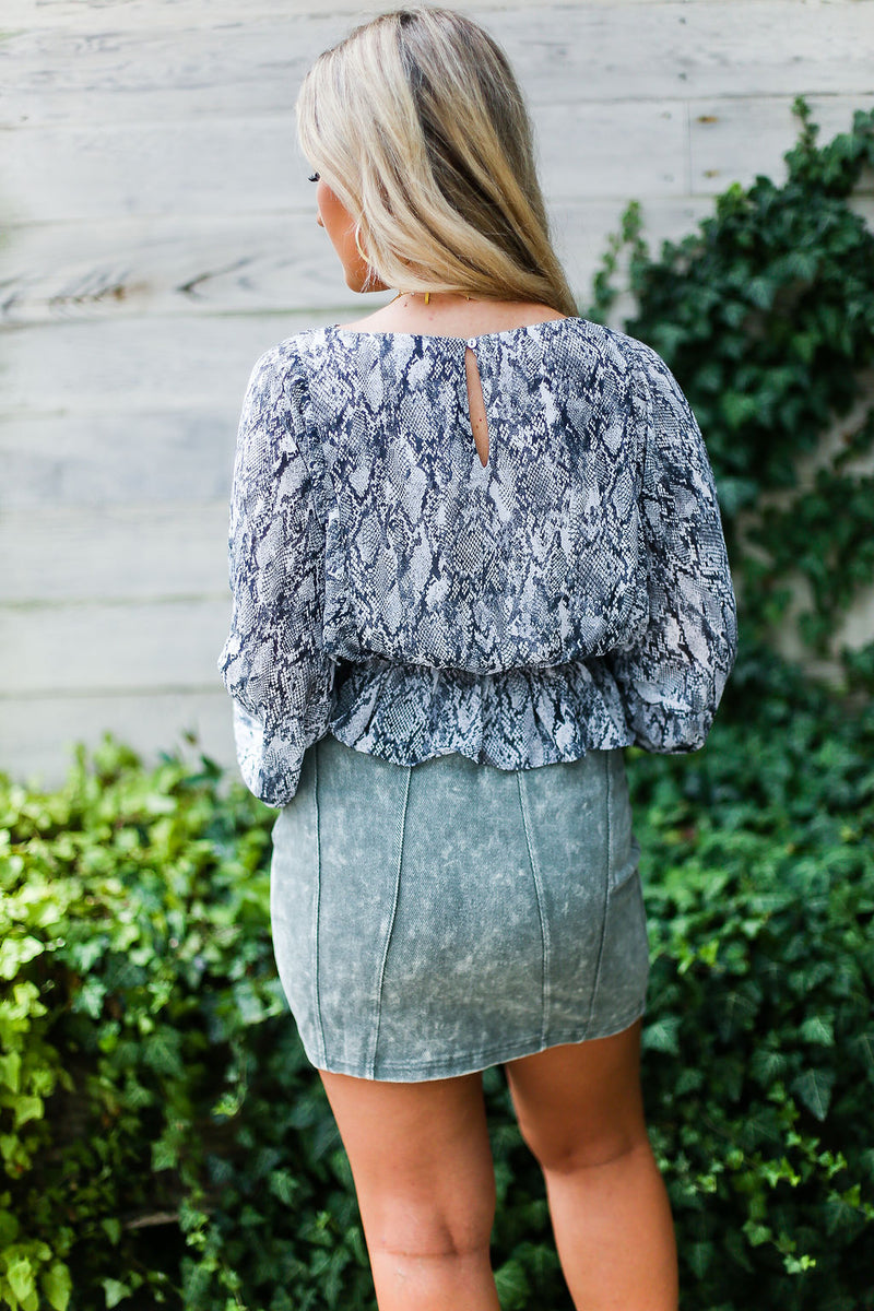 Olive Green Acid Wash Denim Mini Skirt- Shop Kendry Collection Boutique