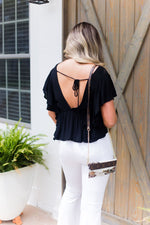 Black Open Back Ruffle Blouse - Kendry Collection Boutique