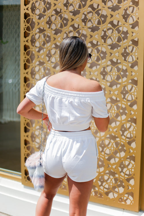 White Off The Shoulder Two Piece Shorts Set - Shop Kendry Collection