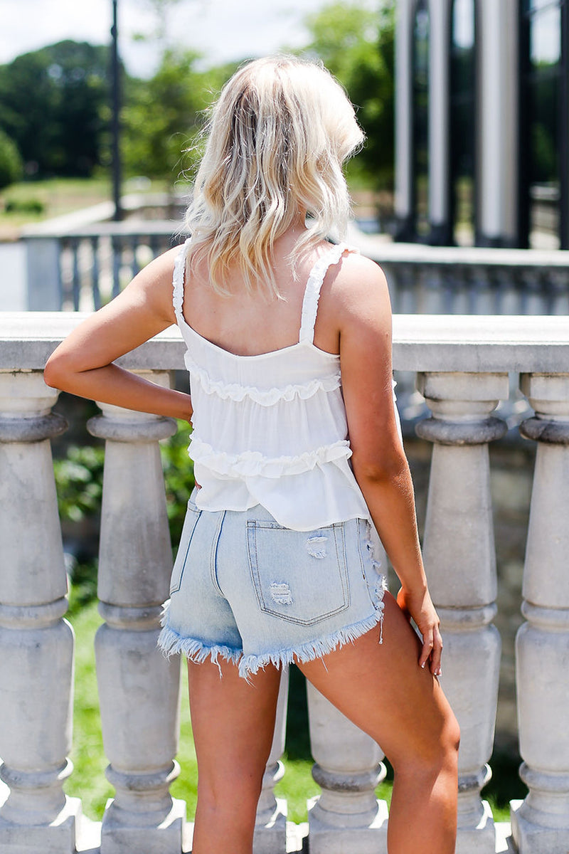 White Ruffle Tank Top