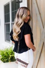 Black Open Back Ruffle Blouse - Kendry Collection BoutiqueBlack Open Back Ruffle Blouse - Kendry Collection Boutique