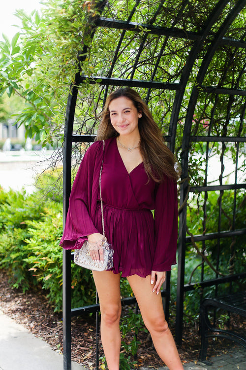 Burgundy Red Bell Sleeve Romper - Kendry Collection Online Boutique