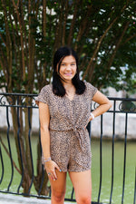 Cheetah Print Front Knot Romper - Kendry Collection Online Boutique