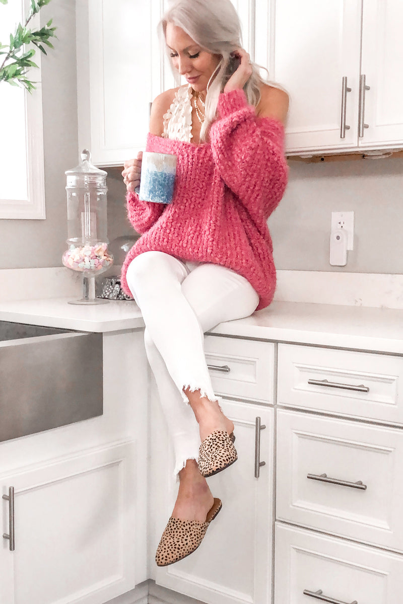 Lovely Day Pink Eyelash Knit Sweater - Kendry Collection Boutique