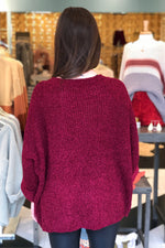 Red Quarter Length Sleeve Sweater - RESTOCK
