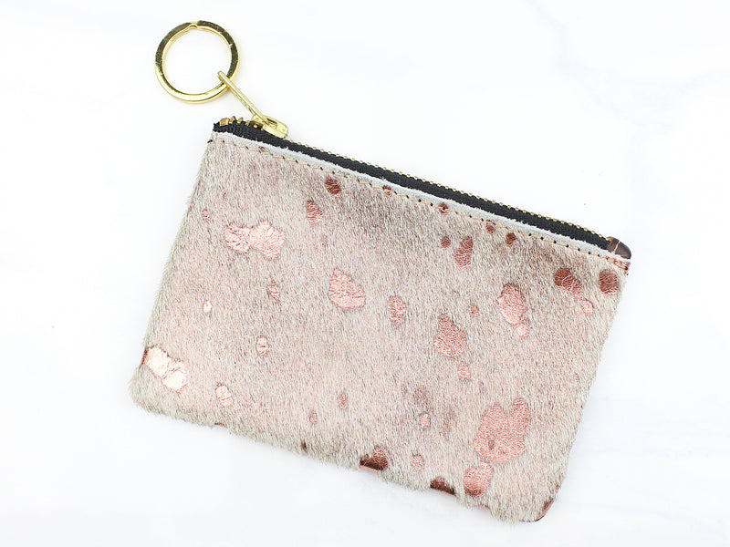 Metallic Cowhide Coin Purse - Rose Gold - Kendry Collection Boutique
