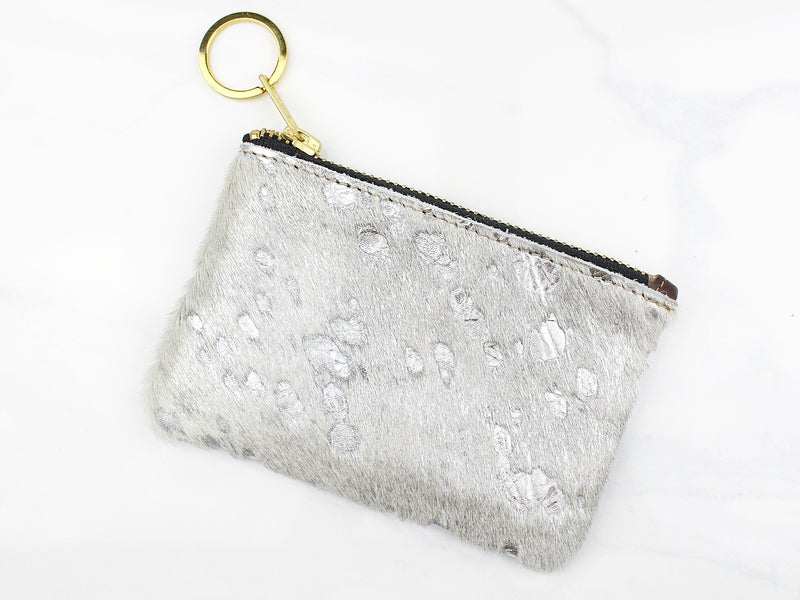 Metallic Cowhide Coin Purse - Silver