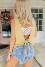 Two To Tango Mustard Open Back Tie Top