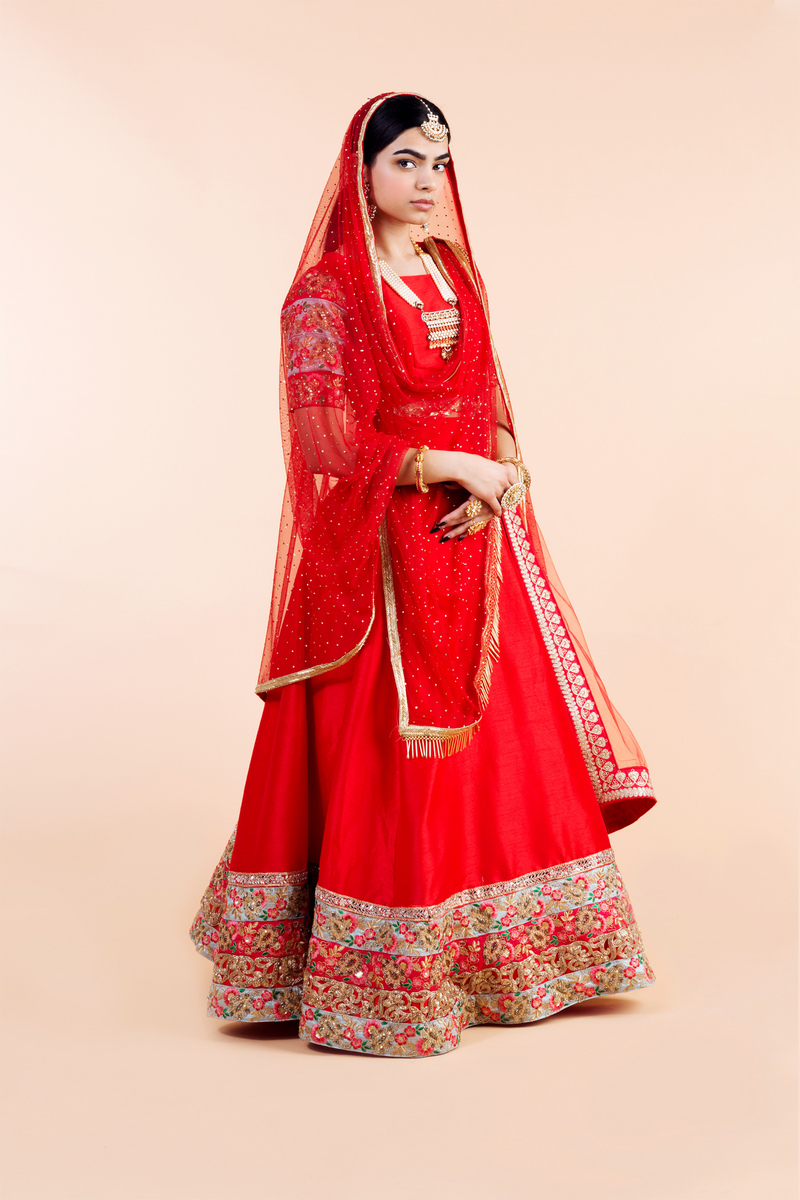 SAZI RED NET SEQUIN DUPATTA