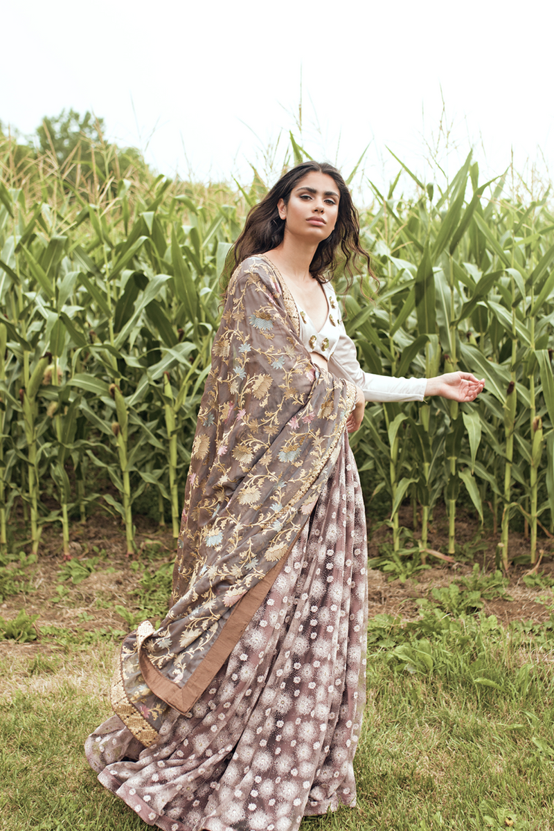 FLORAL BROWN DUPATTA