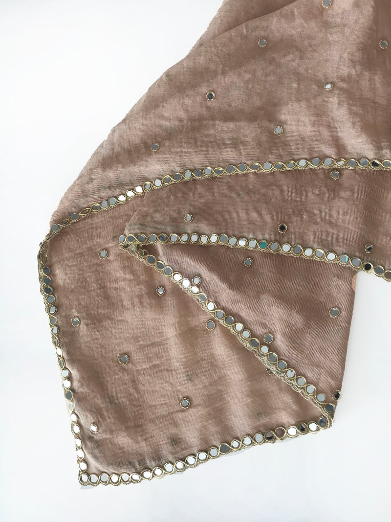 ROSE GOLD CHIFFON MIRROR DUPATTA