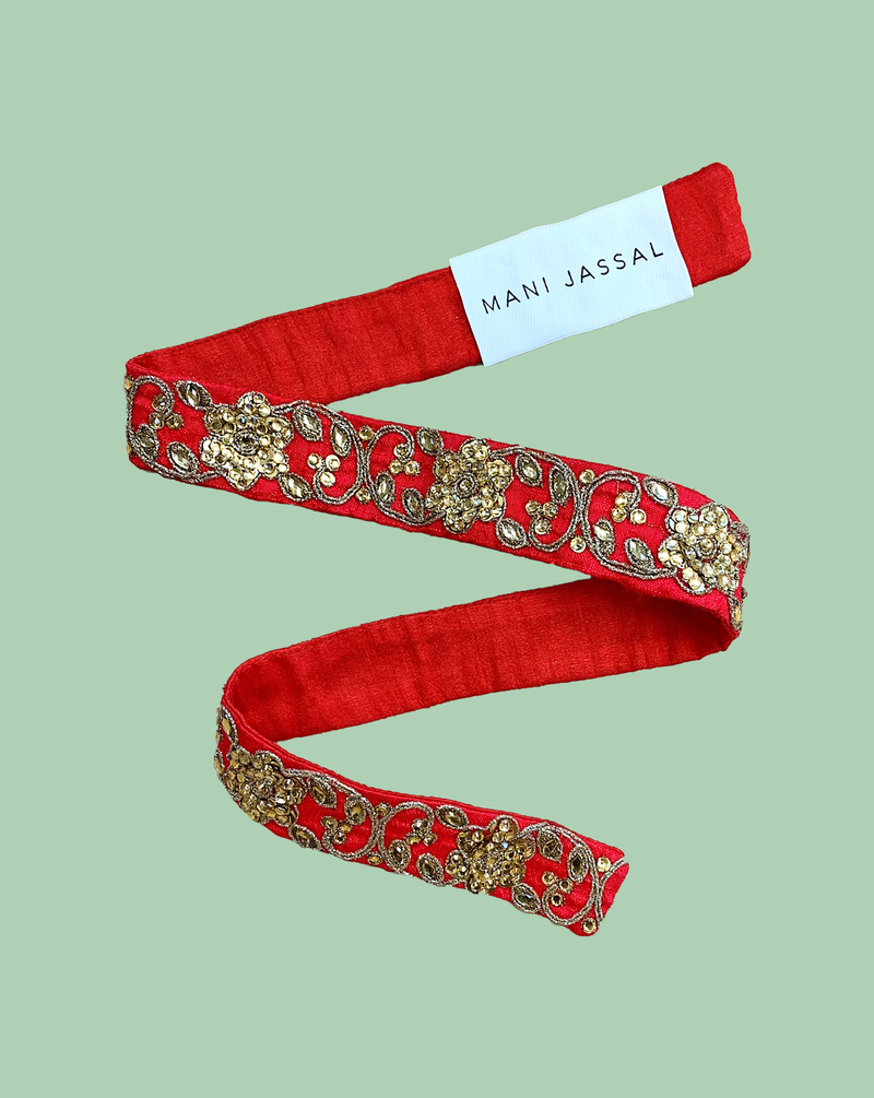 RED SEQUIN FLORAL BELT
