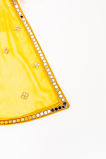 YELLOW CHIFFON MIRRORED DUPATTAS