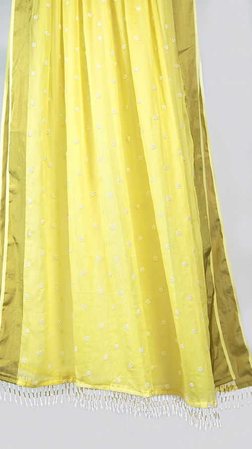 BABY YELLOW CHIFFON PEARL BEADED DUPATTA
