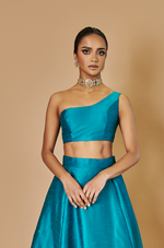 ONE SHOULDER RAW SILK BUSTIERS