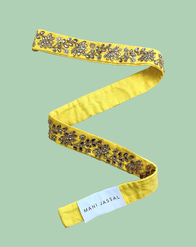 YELLOW FLORAL BELT