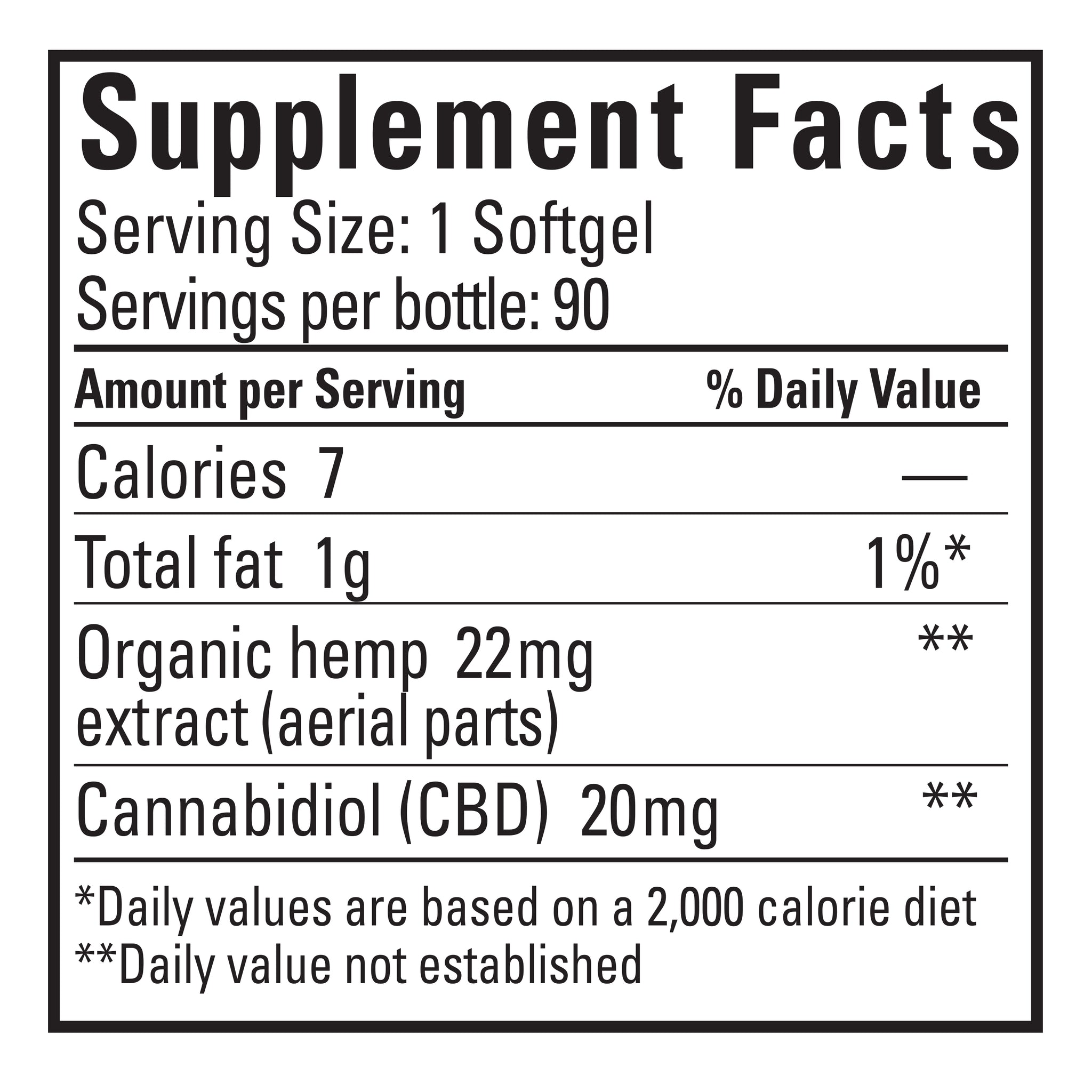 SOFTGEL 90 COUNT - 20 MG/SOFTGEL SUNSOIL FULL SPECTRUM CBD
