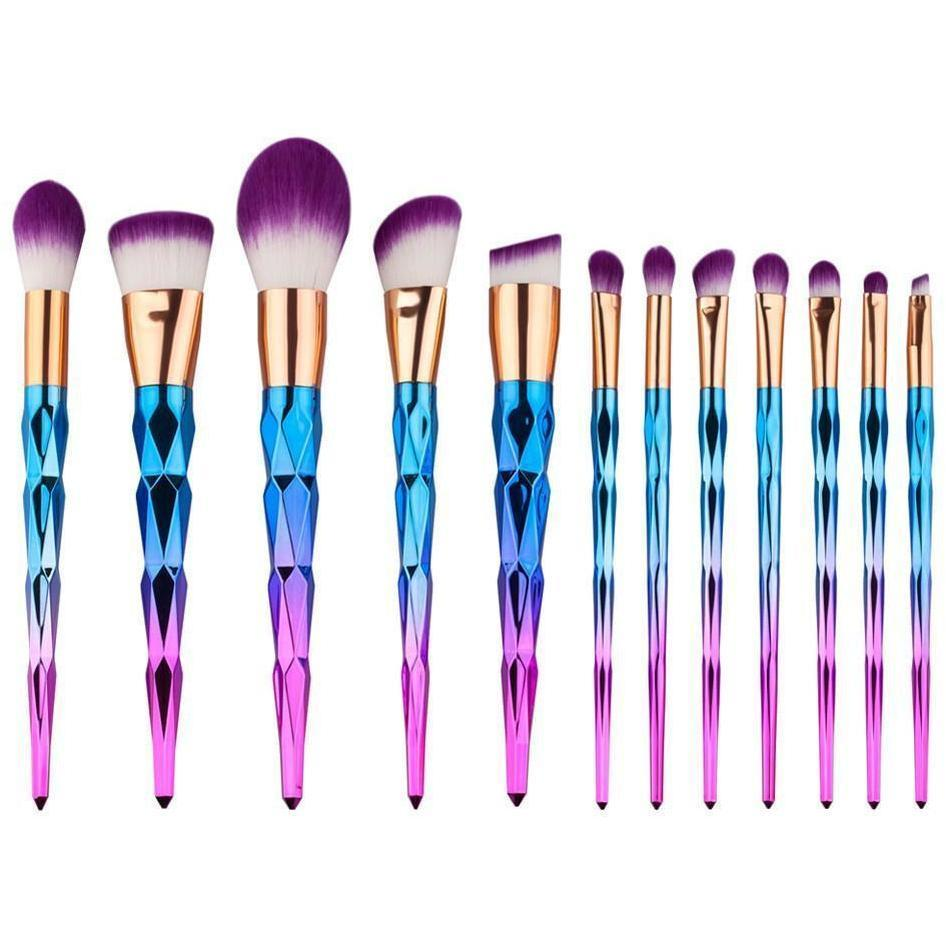 Unicorn Rhinestone Makeup Brush Set - 12 Pieces - Alpha Bargain