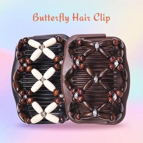 Fashion Magic Beads Double Hair Comb Hair Jewelry Alpha Bargain Beige
