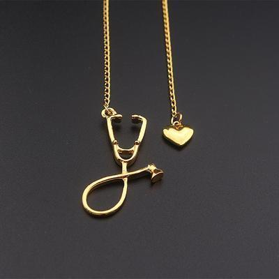 Stethoscope Necklace With Lariat Heart Pendant Pendant Necklaces alpha Gold-color