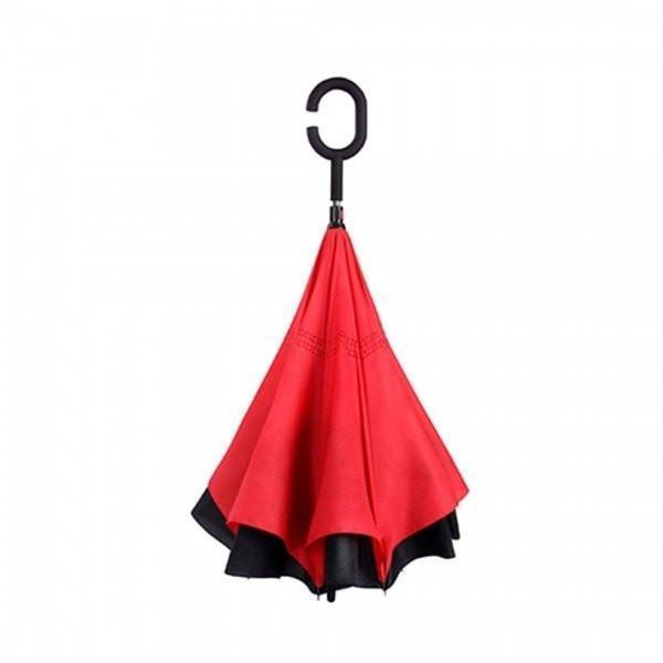 Mega Red DOUBLE LAYER C-SHAPED HANDLE REVERSIBLE UMBRELLA Alpha Bargain