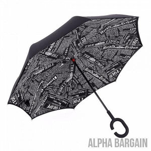 Black Newspaper DOUBLE LAYER C-SHAPED HANDLE REVERSIBLE UMBRELLA - Alpha Bargain