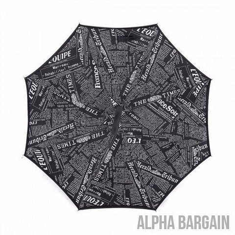 Image of Black Newspaper DOUBLE LAYER C-SHAPED HANDLE REVERSIBLE UMBRELLA Alpha Bargain