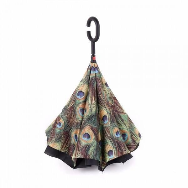 Peacock Feathers DOUBLE LAYER C-SHAPED HANDLE REVERSIBLE UMBRELLA - Alpha Bargain