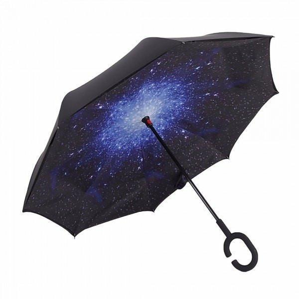 Starry Sky DOUBLE LAYER C-SHAPED HANDLE REVERSIBLE UMBRELLA - Alpha Bargain