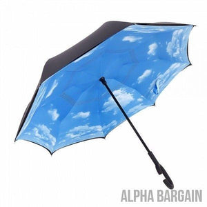 Cloudy Sky DOUBLE LAYER C-SHAPED HANDLE REVERSIBLE UMBRELLA - Alpha Bargain