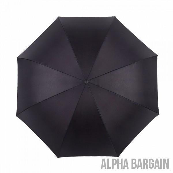 Black Newspaper DOUBLE LAYER C-SHAPED HANDLE REVERSIBLE UMBRELLA Alpha Bargain