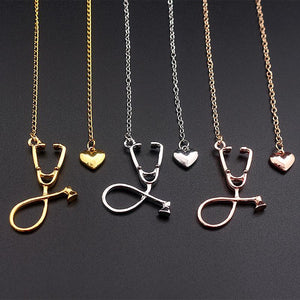 Stethoscope Necklace With Lariat Heart Pendant Pendant Necklaces alpha