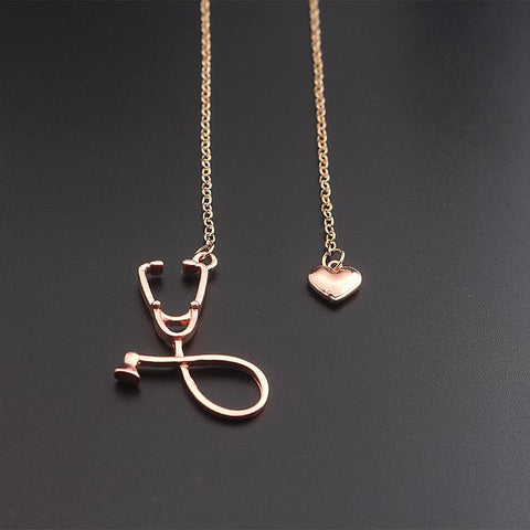 Stethoscope Necklace With Lariat Heart Pendant Pendant Necklaces alpha Rose gold