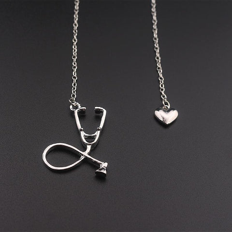 Stethoscope Necklace With Lariat Heart Pendant Pendant Necklaces alpha Silver