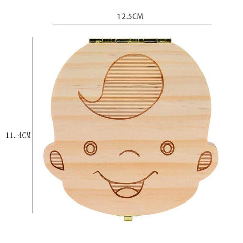 Image of Baby Wood Tooth Box Organizer - Comes in Spanish, French, Russian, and English Alpha Bargain