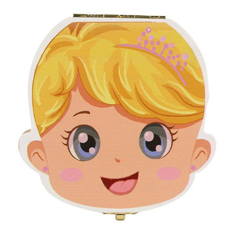 Baby Wood Tooth Box Organizer - Comes in Spanish, French, Russian, and English Alpha Bargain French crown girl yellow hair