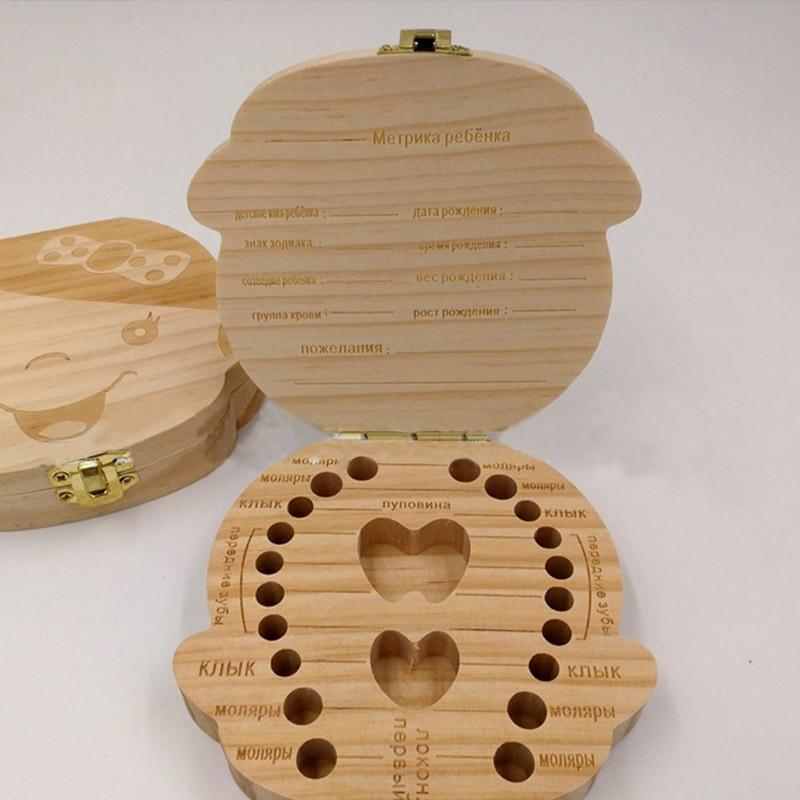 Baby Wood Tooth Box Organizer - Comes in Spanish, French, Russian, and English Alpha Bargain